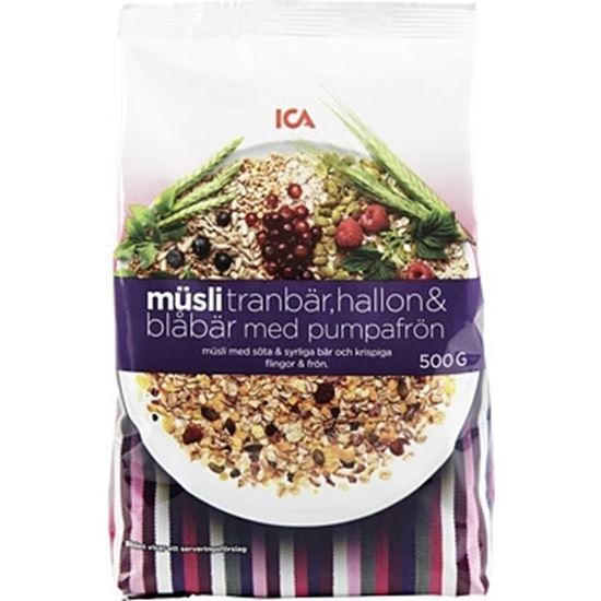 Bild på ICA Müsli Tranbär hallon blåbär & pumpafrön 500g