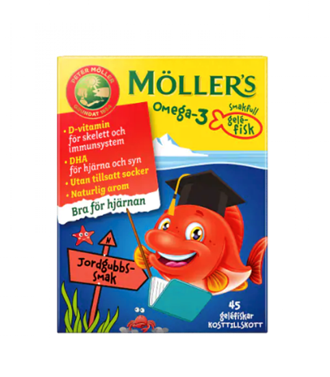Bild på Möllers Omega-3 Gelefisk Jordgubb 45 st